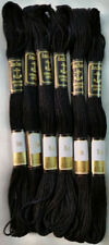 6 x Black Anchor Cross Stitch Cotton Embroidery Thread Floss