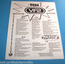 Sega VF2 Virtua Fighter 2 VIDEO ARCADE GAME INSTRUCTION SHEET WITH PLAYER TIPS