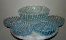 Beatty Swirl Blue Opalescent  5 piece Berry Set  A J Beatty and Sons