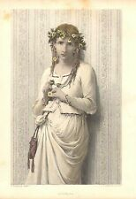 Pretty Lady, Ophelia, Fashion, Flowers In Her Hair, Vintage 1875 Antique Print