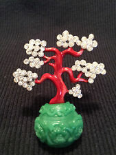 RARE NEW KJL KENNETH JAY LANE FAUX JADE CRYSTAL AND ENAMEL BONZAI TREE BROOCH