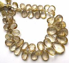 """Natural Gem Golden Rutile Quartz Facet Pear Shape Briolettes 8x11 to 13x20MM 9"""""""