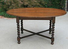 Antique English Oak BARLEY TWIST Oval Dining Library Table
