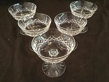 SET OF 5 WATERFORD CRYSTAL CHAMPAGNE SAUCERS/SHERBETS IN THE LISMORE PATTERN