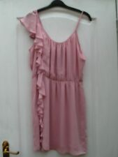 TOPSHOP BABY PINK SHEER RUFFLE FRILL ASYMMETRIC FRONT STRAPPY SKATER TEA DRESS