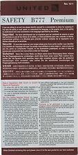 Safety Card United Airline B777 Premium B 777 für SAMMLER Sicherheitsdatenblatt