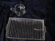 8 Sets Vintage Hazel Atlas Orchard Crystal Ribbed Snack Tray and Cup MODEL*1305*