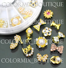 12pcs Nail Art Decoration Gold Alloy Jewelry Glitter Rhinestone+Wheel (SET NO.9)