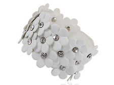 White Daisy Flower Crystal Rhinestone Stud Leather Wrist Cuff Band Bracelet