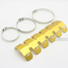 Universal Motorcycle Exhaust Muffler Pipe Leg Protector Heat Shield Cover Gold