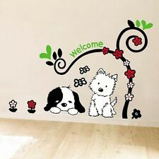 Lovely Puppy Dog Wall Stickers Flower Decal Art Vinyl Living Room Room Decor