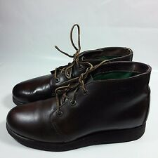 NICE VINTAGE Women's L.L. Bean Chukka Brown Leather Ankle Boots-Vibram-USA-10 M