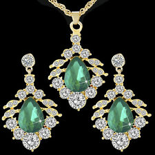Splendid Gold Plated Green Crystal Waterdrop Jewelry Set Necklace Earrings Studs