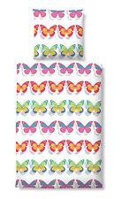 Castell Baumwolle Satin Bettwäsche 4 tlg RV bunt Schmetterlinge 135x200