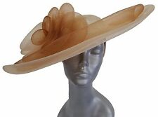 Swan, Designer Women's Derby, Wedding, Large Brim Sinamay Fascinator -Natural