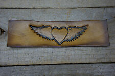 hart with wings /die cut out/ tooded leather pactches/stamped designs