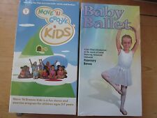 Baby Ballet [VHS] + Move 'N Groove Kids VHS Set Lot of 2 NEW SEALED Perfect