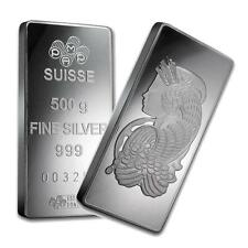 One piece 500 gram 0.999 Fine Silver Bar Pamp Suisse Fortuna Lot 8578