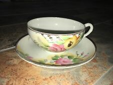 Antique Nippon China Tea Cup & Saucer Hand Painted Made in Japan