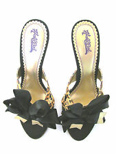 NEW HAL'E BOB SATIN ANIMAL LEOPARD PRINT BOW DETAIL HIGH HEEL MULES SIZE