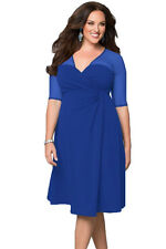 Plus Size Clothing 3X Knee Length Blue V-Neck Tea Dress SEXY Sheer Mesh Sleeves