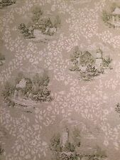 VTG GREEN WHITE FARM FRENCH TOILE GLITTERED VTG ROLL WALLPAPER