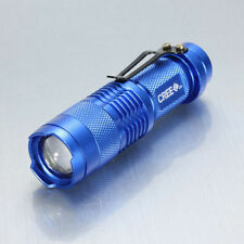 7W CREE Q5 LED 600lm Mini ZOOMABLE Flashlight Torch 14500/AA Blue
