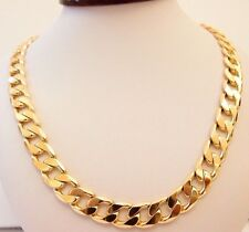 """MEN HEAVY 9ct """"GOLD FILLED"""" Men CURB Links CHAIN Necklace. L=24"""",  W=12.5mm Gift"""