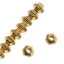 Antiqued 22K Gold Plated Pewter Hexagon Rondelle Beads 3mm (50)