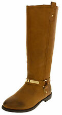 Womens Leather Look KEDDO Low Heel Riding Biker Flat Work Boots Size 3 4 5 6 7 8