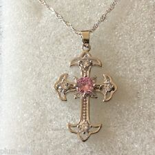 CC04 Silver (white gold gf) cross & chain pink sapphire Swarovski elements BOXD