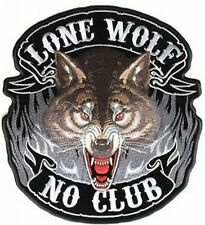 "Lone Wolf Large NO CLUB HUGE 12"" x 12"" MC Club Biker Back Vest Patch LRG-0400"