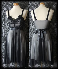 Gothic Black Grey Layered BEWITCHING Detailed Sash Dress 6 8 Victorian Vintage