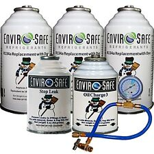 Enviro-Safe Vehicle Refrigerant Replacement Complete Car Kit 5 Cans Tap + Gauge