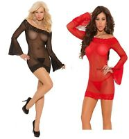 Super sexy underwear Long sleeve Lace BABYDOLL intimate lingerie+Thong size 8-10