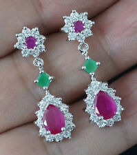 NATURAL RED RUBY& Green EMERALD 925 SILVER DANGLE EARRINGS HL