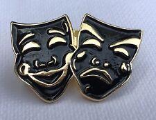 Metal Enamel Pin Badge Brooch Masks Black Gold Theatre Performing Drama Stage