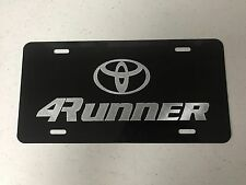 Toyota 4Runner Car Tag Diamond Etched on Black Aluminum License Plate
