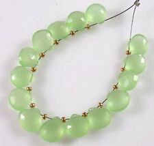 12 LARGE LIME GREEN CHALCEDONY FACETED HEART BRIOLETTE BEADS 10 mm  C16