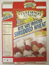 OLD FARMER'S ALMANAC Cereal Box 1997 BITE SIZE FROSTED SHREDDED WHEAT 20.4 oz