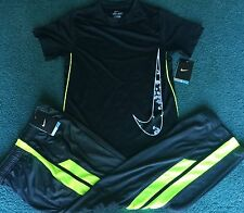 NWT Nike Boys YMD Gray/Black/Neon Yellow Dri-Fit Athletic Pants Set Medium