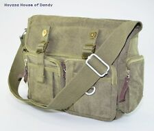 Mens Plain Canvas Casual Medium Size Daily Messenger Shoulder Bag(3331) - Green