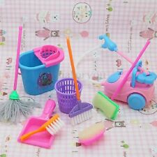 Set of 9pcs Home Furniture Furnishing Cleaning Cleaner Toy For Barbie Doll House