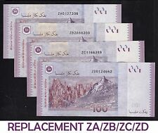 Lot 4pc Malaysia 100 Ringgit 2011 Complete REPLACEMENT ZA/ZB/ZC/ZD - UNC