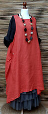 LAGENLOOK LINEN OVERSIZE QUIRKY LAYERING 2 POCKETS TUNIC-DRESS*RED*Size L-XL-XXL