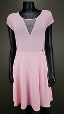 HOT GUESS BABY PINK CAP SLEEVE PARTY LINED SKATER DRESS Sz L