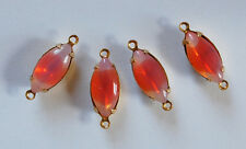 VINTAGE 4 ORANGE SABRINA GIVRE GLASS NAVETTE CONNECTOR BEADS GORGEOUS 15 X 7mm