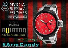 NWT New Mens Invicta 54mm Russian Aviator Silver/Red Quartz GMT Stainless Steel