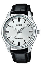 Casio MTP-V005L-7A Men's Standard Analog Black Leather Band Silver Dial Watch
