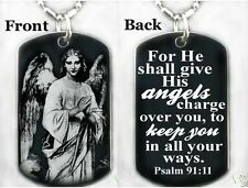 FOR HE SHALL GIVE HES ANGELS...PSALM 91:11-Dog tag Necklace/Keychain+FREE ENG.